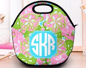 Lunch Box for Woman   Monogram Lunch Box   Neoprene Lunch Box   Lilly Pulitzer Inspired Lunch Box