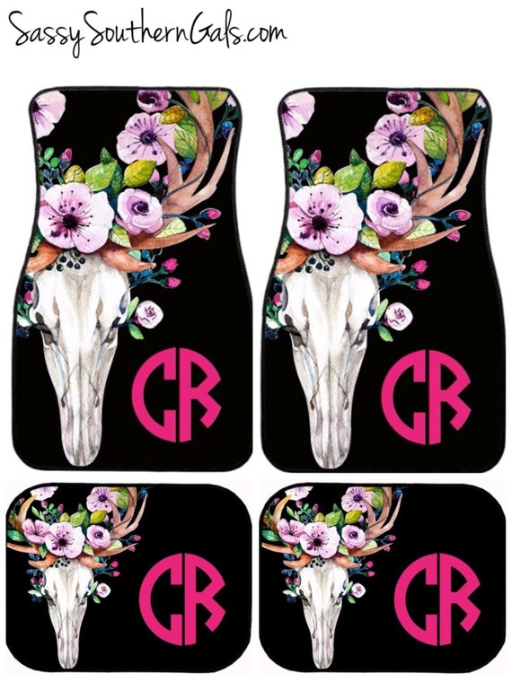 Monogrammed Floor Mats >> Car Accessory For Woman Monogrammed Car Floor Mats Bull Skull Car Mats Floral Car Mats Monogram Car Accessory