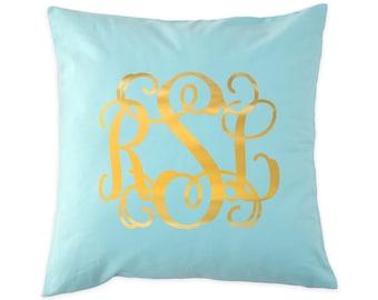 Monogrammed Pillow Cover | Gold Foil | Monogram Pillow | Monogrammed Gift
