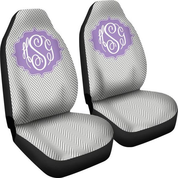 Car Seat Covers For Vehicle Grey Herringbone Personalized