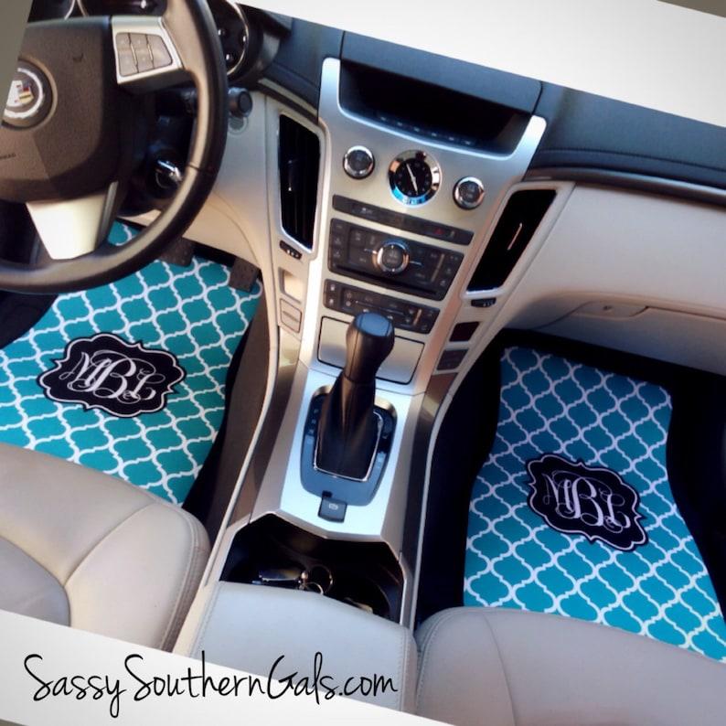 Quatrefoil Pattern Monogrammed Car Mats New Driver Gift Cute image 0