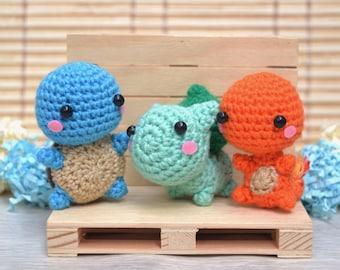 Pokemon amigurumi first generation: Charmander, Squirtle & Bulbasaur crochet
