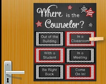 School Counselor Gift, Red And Black Counseling Office Decor, Mental Health  Gift, Office Door, Where Is The Counselor Sign NOT EDITABLE