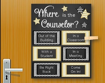 Where Is The Counselor Sign, School Counselor Gift, Counseling Office Decor,  Mental Health Counselor Gift, Office Door Sign NOT EDITABLE
