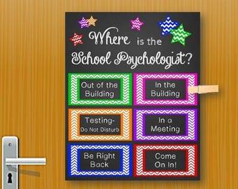 School Psychologist Gift, Back to School Psychologist Office Decor, Where is the School Psychologist Door Sign, Psychology Sign