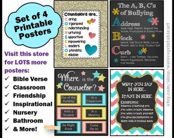 School Counselor Decor, Mental Health Counselor, School Counseling, Office Decor, Printable Signs, Counselor Gifts, Back to School