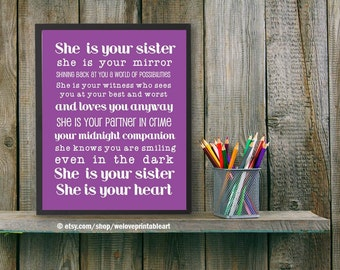Gift Ideas for Sister Best Friend Sister She Is Your Sister | Etsy
