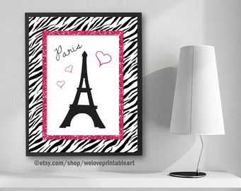 Paris Bedroom Decor, Pink And Black, Zebra Print, Paris Eiffel Tower, Paris  Nursery Gifts, Paris Themed Bedroom, Paris Art Print, Wall Decor