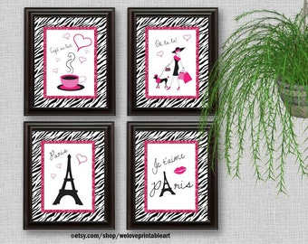 Merveilleux Paris Decor, Paris Art Prints, Pink And Black, Paris Bedroom Decor, Girls Bedroom  Decor, Wall Art, Zebra Print