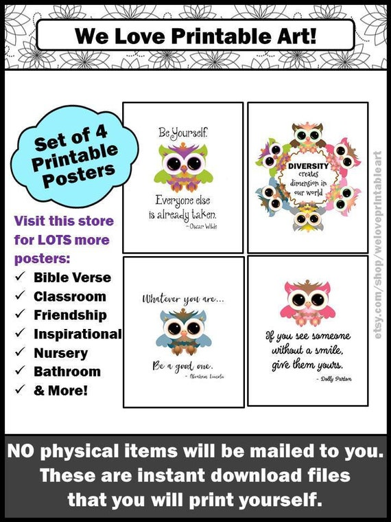 owls classroom decor printable teacher door signs owl theme etsy