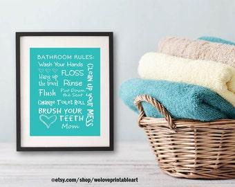 Kids Bathroom Decor Aqua Art Bathroom Artwork Printable Art Print Instant Download Bathroom Wall Quote Sign Wash Your Hands