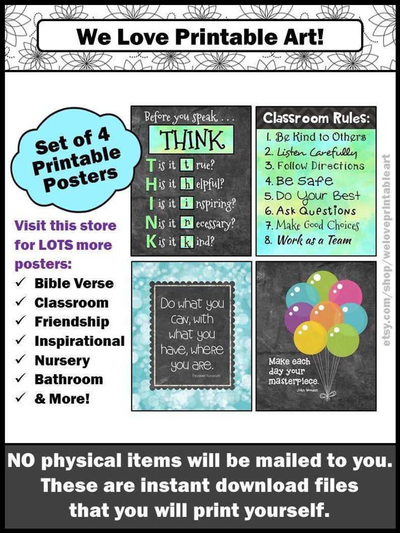 Classroom Rules Signs Inspirational Wall Art, Classroom Rules Signs  Elementary Motivational Poster Set Instant Download YOU PRINT THEM