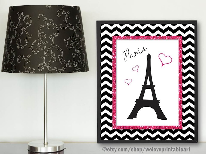 Paris Bedroom Decor, Pink And Black Chevron, Paris Eiffel Tower, Paris  Nursery Gifts, Paris Themed Bedroom, Paris Art Print, Wall Decor