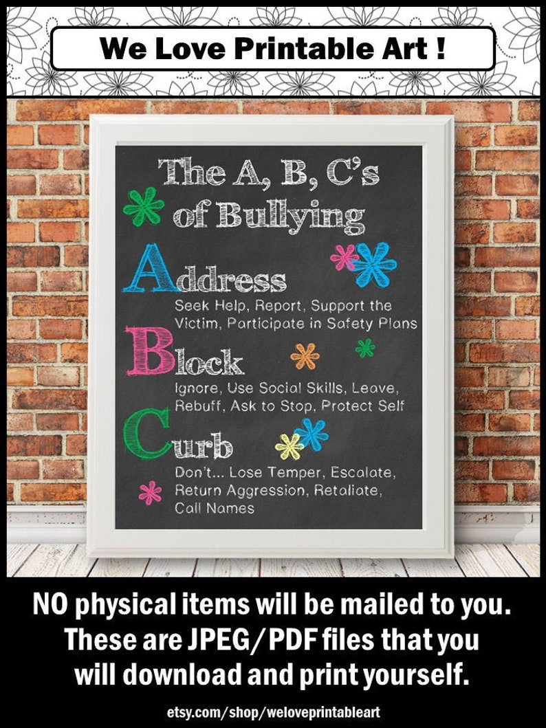 Anti-Bullying Poster School Counselor Sign Counseling Office image 0