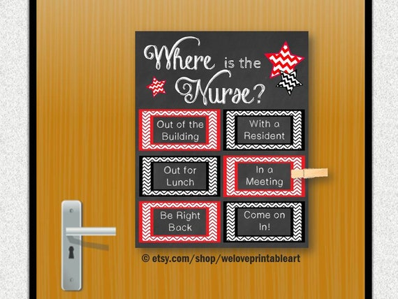 Where Is The School Nurse Door Decoration Printable Nurse Etsy