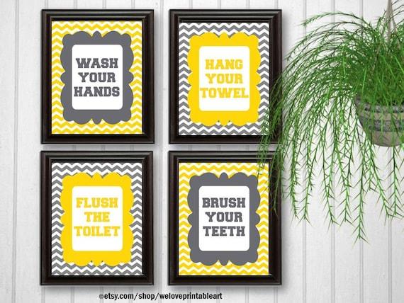 Wash Your Hands Sign Kids Bathroom Decor Flush the Toilet