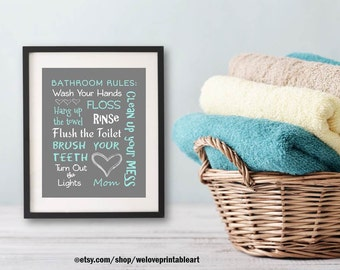 Kids Bathroom Decor Art Bathroom Artwork Printable Art Print Instant Download Bathroom Wall Quote Sign Wash Your Hands Aqua Gray White