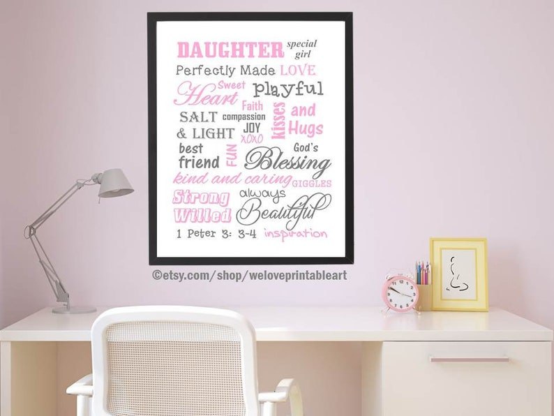 c0e203223c9ce Nursery Art Print Baby Girl Nursery Decor Instant Download Christian  Nursery Decor Printabel Art Quote Print Pink Gray