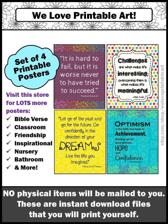 image about Printable Motivational Posters identify Motivational Poster Mounted, Clroom Inspirational Posters Basic Estimate Signs or symptoms, Printable Wall Artwork Quick Obtain By yourself PRINT THEM