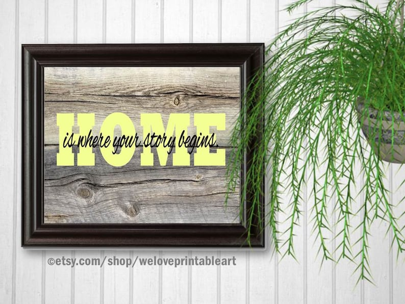 Home Is Where Your Story Begins Yellow Home Sign Barnwood image 0