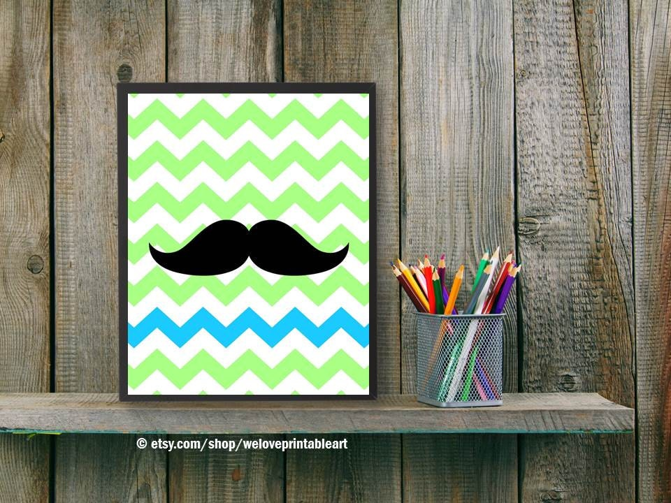 Green Chevron Teen Girl Gift Printable Art Mustache Wall