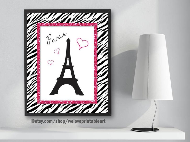 Incroyable Paris Bedroom Decor, Pink And Black, Zebra Print, Paris Eiffel Tower, Paris  Nursery Gifts, Paris Themed Bedroom, Paris Art Print, Wall Decor