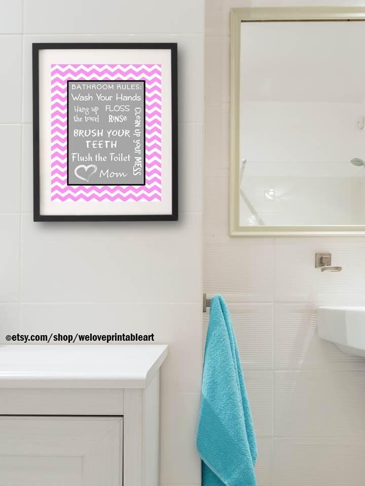 Kids Bathroom Art Decor Pink Gray Bathroom Artwork ...