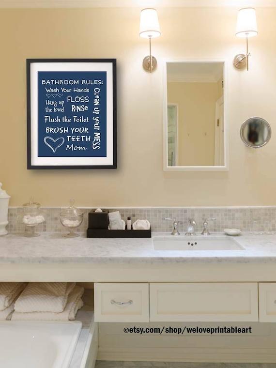 Navy Boy Bathroom Decor Bathroom Wall Decor Download You Etsy