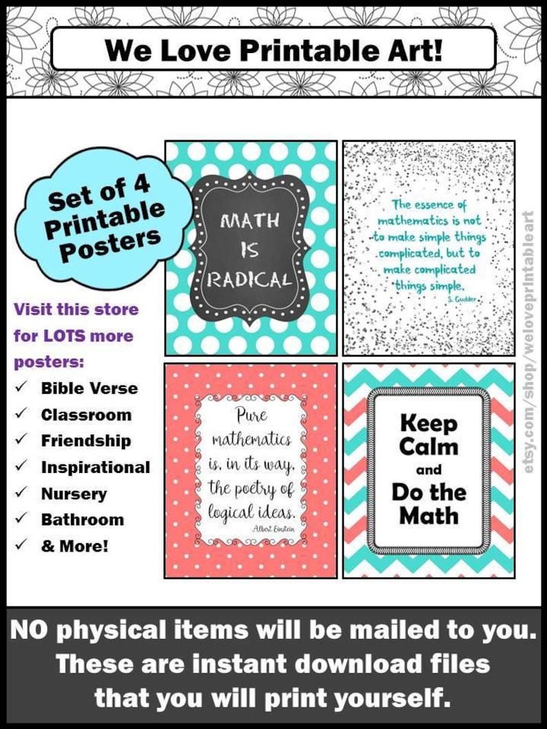 Math Classroom Posters Middle School High School Math Teacher image 0