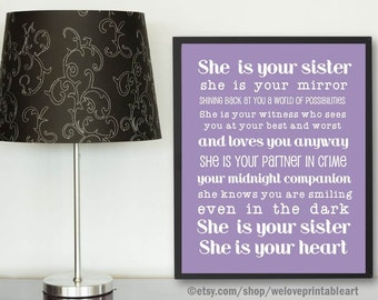 Gifts for Sister, Purple Poster, Gift Ideas for Sister,  Best Gifts for Sister, Purple Sister Quote Poster, Gifts for Big Sister