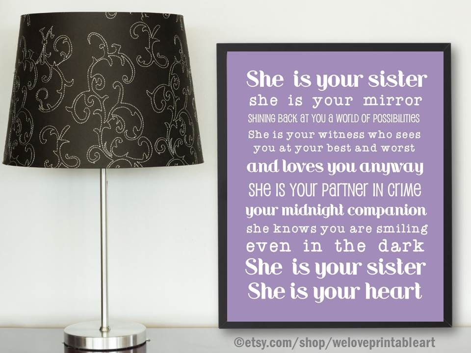 Gifts for Sister Purple Poster Gift Ideas for Sister Best | Etsy