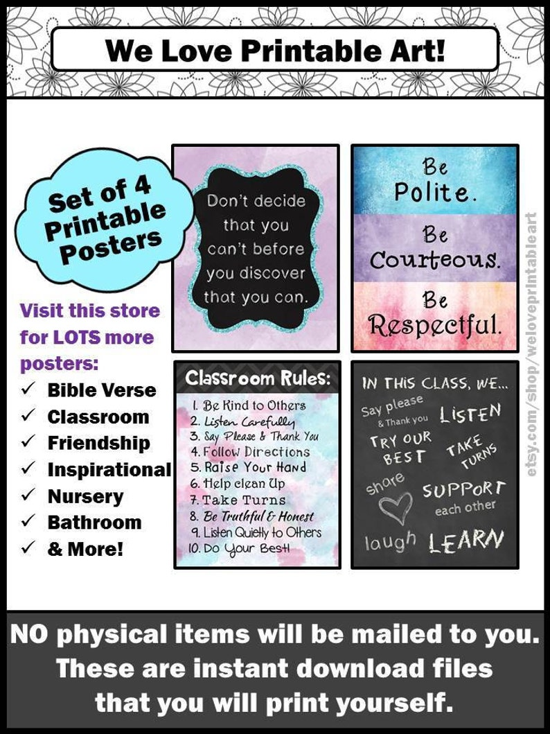 Classroom Rules Signs, Motivational Poster Set of 4, Classroom Decor  Printable Inspirational Wall Art Instant Download YOU PRINT THEM