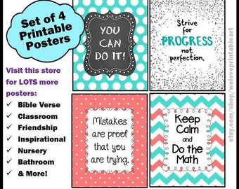 Math Teacher, Math Classroom Decor, Back to School, Aqua and Coral, Printable Posters, Math Signs, Math Teacher Gifts, Math Poster