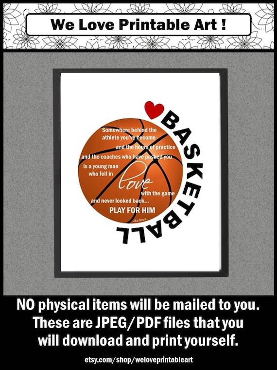 Basketball Sign Printable Poster Basketball Decor Gift For Etsy