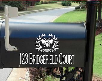 Mailbox Decal / monogram mailbox decal / Personalized  Mailbox bee  /mailbox decal gold / Custom Wedding Mailbox /mailbox decal laurel leaf