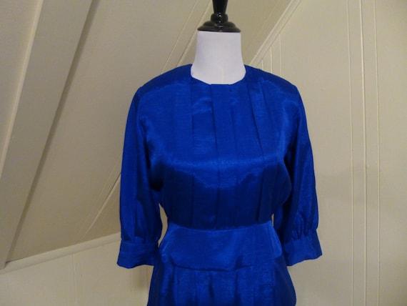 Vintage 1980s Blue Frock Dress Small / Royal Blue