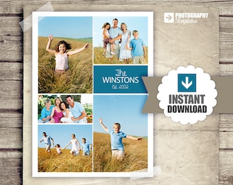 Collage Blog Board - Family Collage Poster - Newsletter Blog Board Collage Template - PSD - INSTANT DOWNLOAD 5x7 and 900px Board