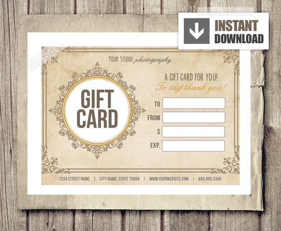 Gift Card Certificate Template For Photographers Vintage Etsy