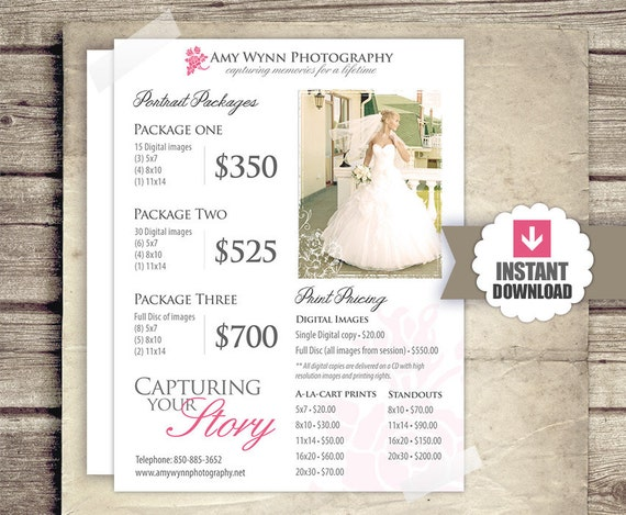Wedding Photography Price List Session Packages Pricing Etsy