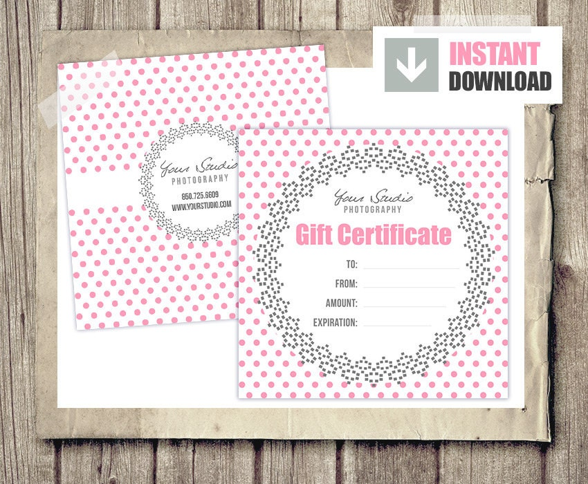 Gift Card Gift Certificate Template For Photographers Pink Etsy
