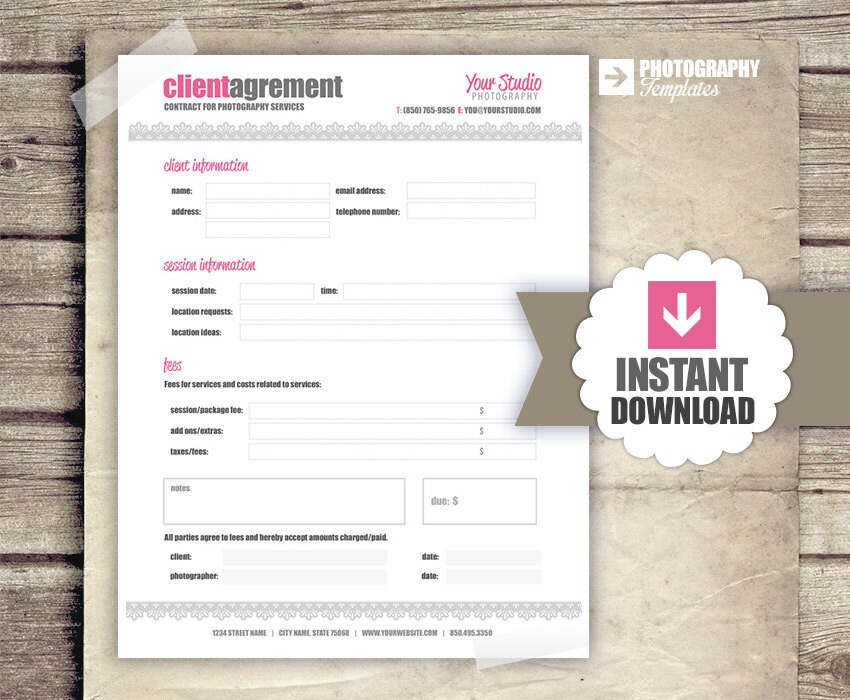 Client Agreement Photography Business Forms Contract Form Etsy