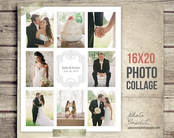 Wedding Collage Blog Board - Wedding Photo Collage Poster - Newsletter Blog Board Collage Template - PSD - INSTANT DOWNLOAD 16x20 Wedding