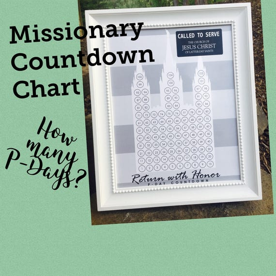 LDS Missionary Countdown Chart 11x14 Weekly Countdown