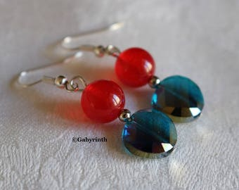 Red glass Cobalt Blue Agate earrings