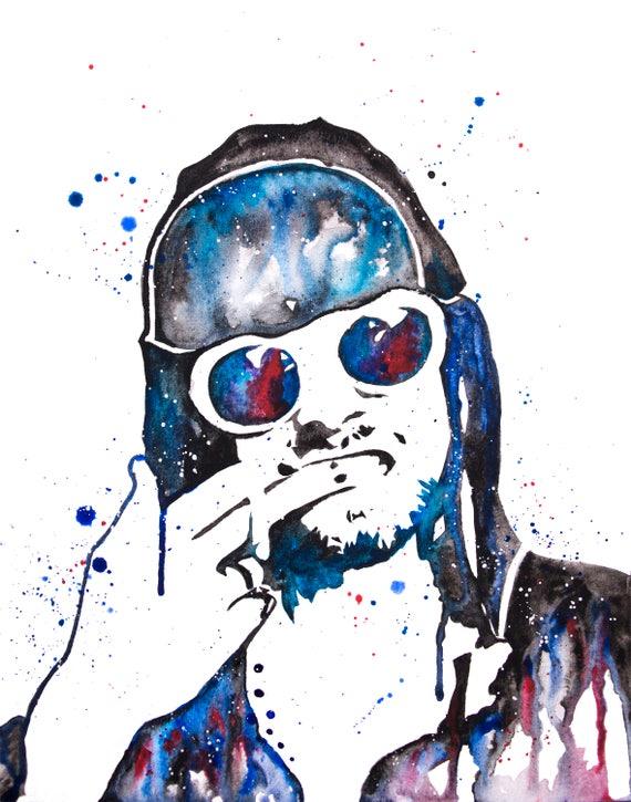 Kurt Cobain Silhouette Watercolor Kurt Cobain Art Kurt   Etsy