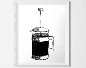 Coffee Print, French Press, Press Pot, Coffee Press Sketch, Black & White Decor, 24x30 Poster, Coffee Lover, Minimalist Decor, Line Drawing