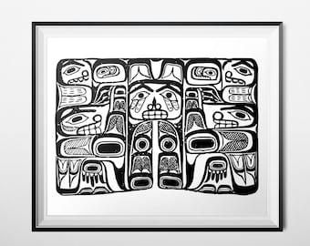 Tribal Print, Haida Art, Fine Art Print, Giclee Print, Pacific Northwest Totem Animal, Black & White Native Print, Tribal Faces Art Poster