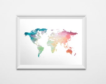World map download etsy world map print rainbow map painted map instant download printable art colorful nursery globe print 20 x 16 poster wanderlust print gumiabroncs Image collections