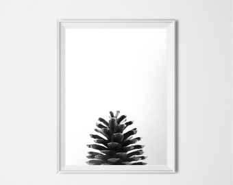Pine Cone Print, INSTANT DOWNLOAD, Printable Art, Black and White Photography, Minimalist Art, Nature Print, Forest Print, Pinecone Poster