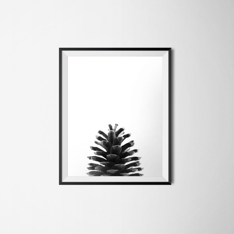 Forest Print Black and White Photography Pine Cone Print Printable Art Pinecone Poster INSTANT DOWNLOAD Nature Print Minimalist Art